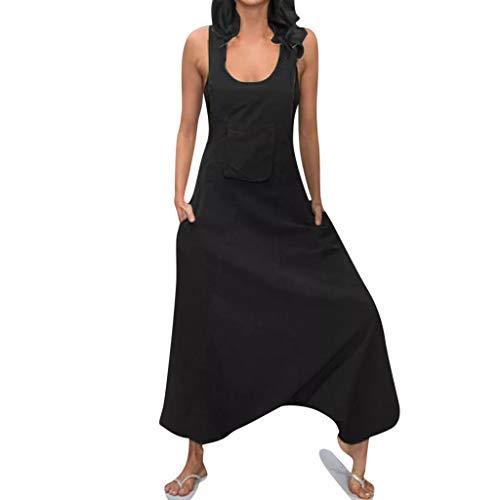 Rosennie Damen Sommer Lang Jumpsuit Elegant Rückenfreie Baggy Long Jumpsuits Plus Size Damen U-Ausschnitt Ärmellos Playsuit Mit Taschen Frauen Vintage Latzhosen Leinen Bein Hosenanzug (Damen Culotte Shorts)