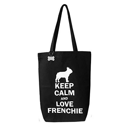 Französische Bulldogge tragbar schwarz Leinwand Tasche Keep Calm und Love Frenchie mit Knochen Zubehör-Perfekt für A4Zeitschriften oder Dokumente
