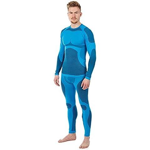 Sport funzione biancheria intima Set in microfibra senza cuciture–biancheria intima da sci–Biancheria intima termica–senza cuciture, blu