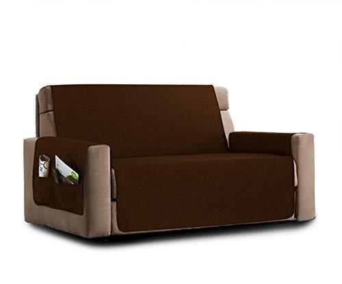 La biancheria di casa elizabeth copri poltrona divano antiscivolo (3 posti, caffè) con 2 tasche portaoggetti