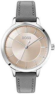 Hugo Boss Women's Carnation Gold Dial Grey Leather Watch - 150