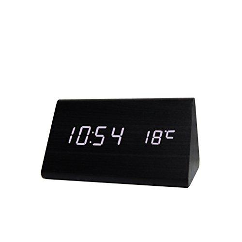 Yihya Triángulo Mini Desk Electrónico LED Alarm Clock para Hogar y Oficina - Diseño único Madera Reloj Snooze con Activado por Voz, Control de Sonido Sensor Display Termómetro Calendario --- Black