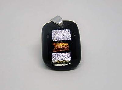 Pendentif Chloé en verre fusionné noir, argent et orange