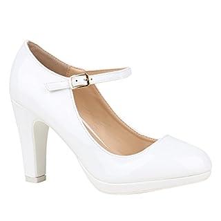Damen Schuhe Pumps Mary Janes VeloursLeder-Optik High Heels Blockabsatz 152431 Weiss Lack Lack 39 | Flandell®