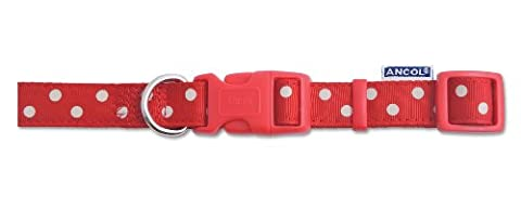 Nylon Adjustable Collar Vintage Red Pollka 45-70cm