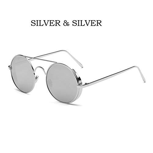 GJYANJING Sonnenbrille SonnenbrilleSternSpiegel Sunglases Punk Dampf Runde Männer Sonnenbrille Big Box Retro Männer Sonnenbrille Mode Bunt