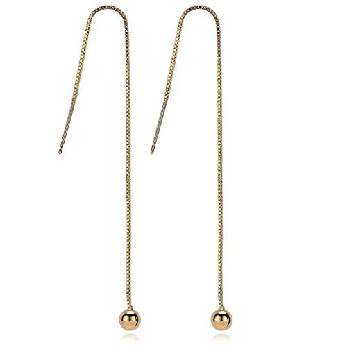 BeyDoDo Modes Ohrschmuck Platiniert Durchzieher Ohrhänger für Frauen Bead Lange Kette Ohrringe Gold