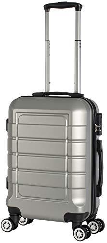 Cahoon - Hartschalen-Koffer Trolley Handgepäck Reisekoffer Kofferset 4 Rollen M-L-XL-Set 201 (Silber, Handgepäck)