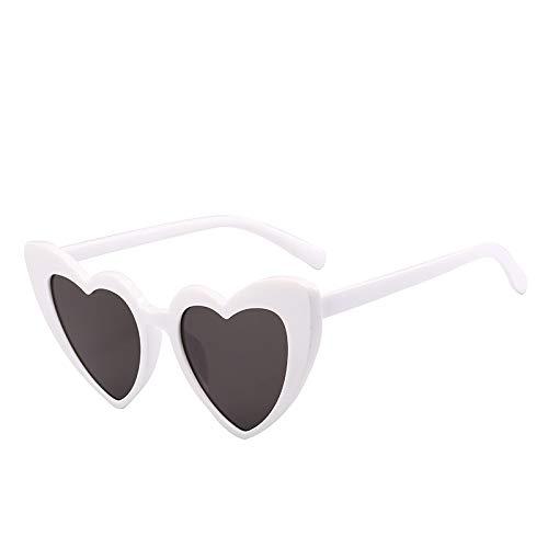 Yangjing-hl Mode Liebe Sonnenbrille Sonnenbrille weiblichen Farbverlauf herzförmige Brille Preis ausgezeichnete C weißen Rahmen grau Stück Scharnier Zähne