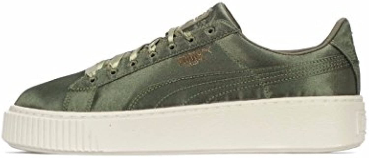 Puma Puma Basket Platform Satin - Zapatillas para mujer Olive/Night Silver/Whisp White