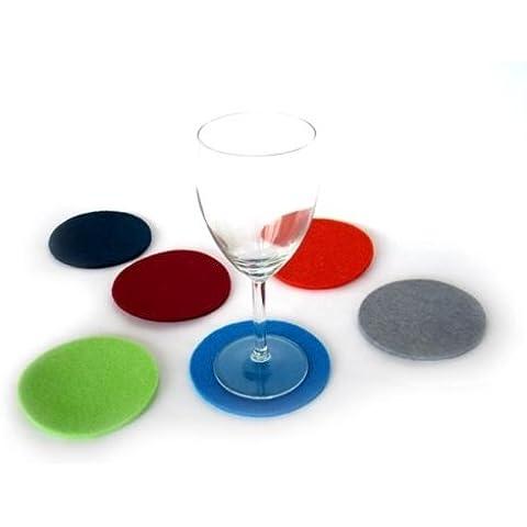 Set di 4 DOT vetro sottobicchiere rosso scuro in feltro di alta qualità