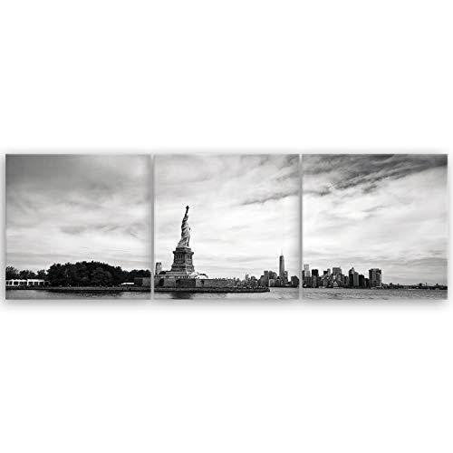 ge Bildet® hochwertiges Panorama Leinwandbild - Freiheitsstatue in New York - Schwarz Weiß - 90 x 30 cm mehrteilig (3 teilig)