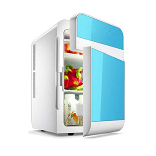 Mini-Kühlschrank Doppeltür-Kühlschränke und Wärmer - 20L - für Zuhause, Büro, Auto, Wohnheim oder Boot - Kompakt und tragbar - AC- und DC-Netzkabel,Blue