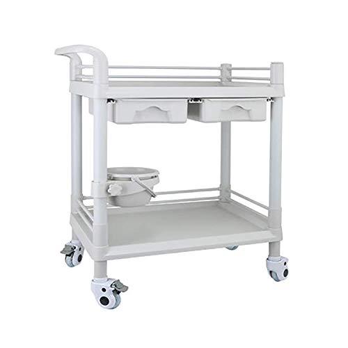 ADWN 2 Schichten Beauty Salon Warenkorb Instrument Warenkorb Trolleyvehicle Tool Warenkorb Ablage, 64,5 *; 44,5 *; 90cm,Doppelte Schublade (Warenkorb Schubladen)