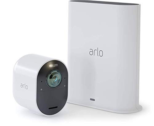 Arlo Ultra 4K UHD Wire-Free Security 1 Camera System, Indoor/Outdoor Security Cameras with Colour Night Vision, 180 Degree View, 2-Way Audio, Spotlight, Siren, (VMS5140) - white