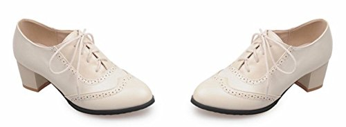 Lacet Aisun Richelieu Talon Femme Ville Beige à de Mode Chaussures Moyen Bloc qY1q6