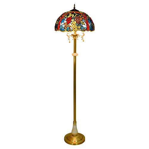 Hermosa decoración 17 pulgadas de Tiffany cobre de jade lámpara de mesa...