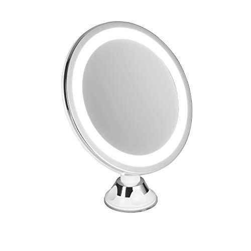 Adler AD2168 AD 2168-Espejo cosmético Redondo con Ventosa y 5 aumentos, luz LED, batería, Giratorio...