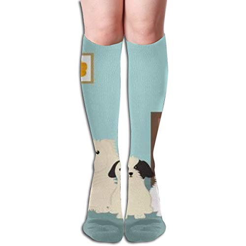 Group Of Mascots With Wooden Drawer Comfortable Adult Knee High Sock Gym Outdoor Socks 50cm 19.7inch -