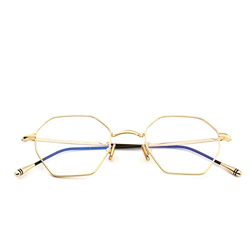 Yangjing-hl Metall Flache Spiegel Brillengestell Retro Art Brillengestell kann mit Flut Männer und Frauen direkten Goldrahmen ausgestattet Werden