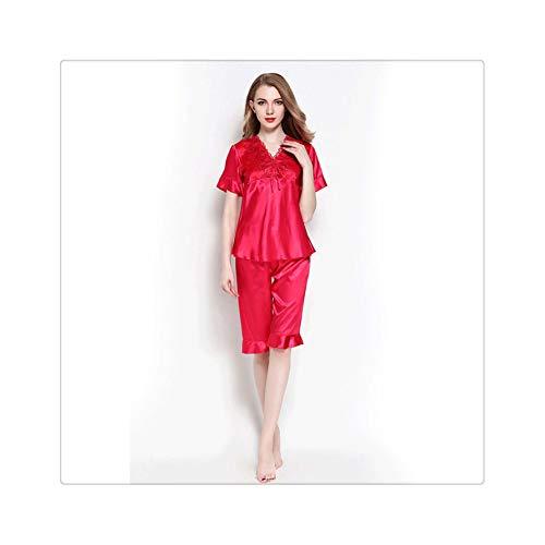 Sexy Autumn Silk Pajamas Sets Pretty Pyjamas Women Sleep Wear Tops and Shorts Female Satin Lingerie Home Suit Cute Pijama Mujer Red XL