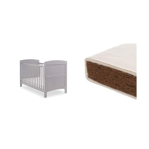 Obaby Grace Cot Bed and Natural Coir Mattress - Warm Grey Obaby Stylish and contemporary design that fits in with any nursery Adjustable 3 position mattress height, bed ends split to transforms into toddler bed Protective teething rails along both side rails, suitable from birth to approximately 4 years 1