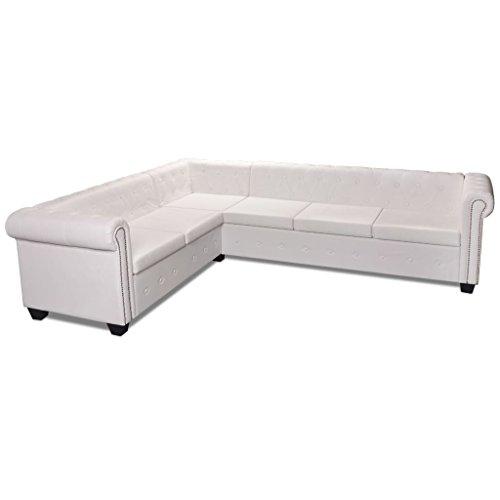 Vidaxl divano ad angolo 6posti chesterfield pelle artificiale bianco