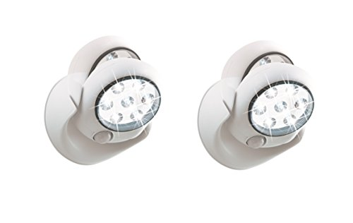 EASYmaxx LED-Leuchte Spot 6V mit Bewegungsmelder ( Kabellos, Sicherheitsleuchte, Selbstklebend, 6 Meter Sensor Distanz, 7 Extra Helle LED) (2er Set)