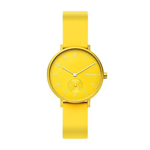 Skagen Unisex Erwachsene Analog Quarz Uhr mit Silikon Armband SKW2820