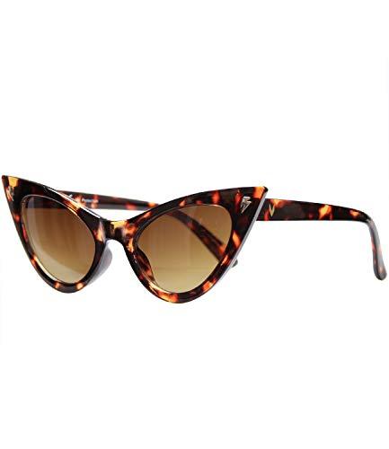 Caripe Damen 50er 60er Retro Cateye Katzenaugen Sonnenbrille (5229 Leo - braun getönt)
