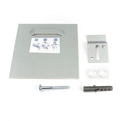Z-Haken mit Acrylhalter im Set 100x100mm selbstklebend, Haftblech, Spiegehalter, Klebe Befestigung