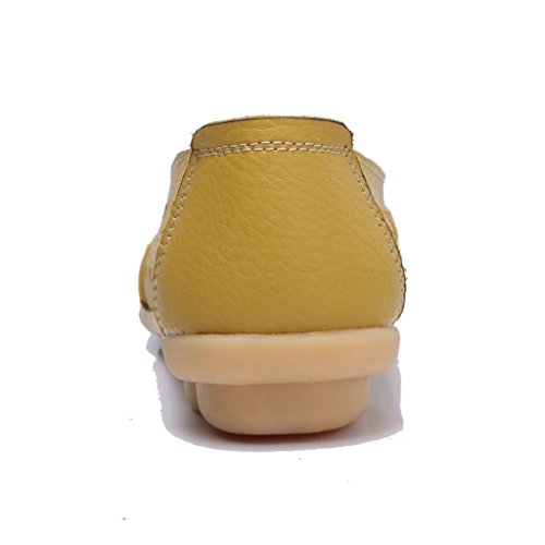 Moonwalker Damen Leder Slipper Mokassin Komfortschuhe 2017 Neues Modell Gelb