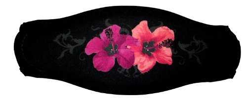 Black Strap Cover with Pink Hawaiian Flowers for Scuba or Snorkel Mask by Innovative (Cover Mask Scuba Strap)