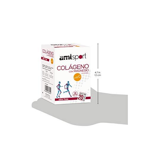 31HOgIr%2B72L - AMLsport - Colágeno con magnesio + VIT C - 20 sticks (sabor fresa). Articulaciones fuertes. Regenerador de tejidos con colageno hidrolizado tipo 1 y 2. Envase para 20 días de tratamiento.