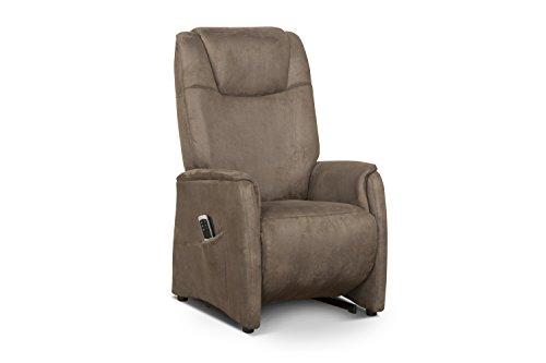 Cavadore Fernsehsessel Mamby / TV-Sessel elektrisch mit Aufstehhilfe und 2 Motoren zur Verstellung der Rückenlehne und Fußstütze / Ergonomie L / Belastbar bis 130 kg / Größe: 69x119x83 (BxHxT) / Farbe: Nuss (braun)