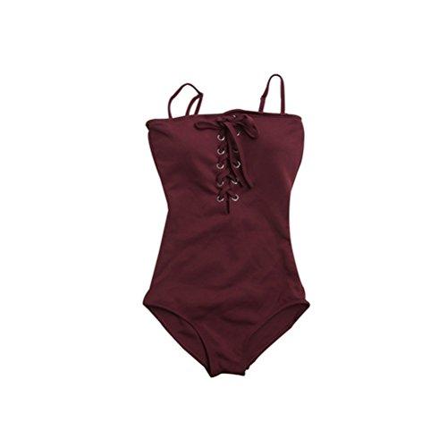 Bathtub LUYIASI- Badeanzug Sexy Strap war dünne Abdeckung Bauch Kleine Brust Dreieck Siamesische Hot Spring Beach Holiday Bademode Frauen (Farbe : Rot, größe : M) - Womens Bademode-abdeckung