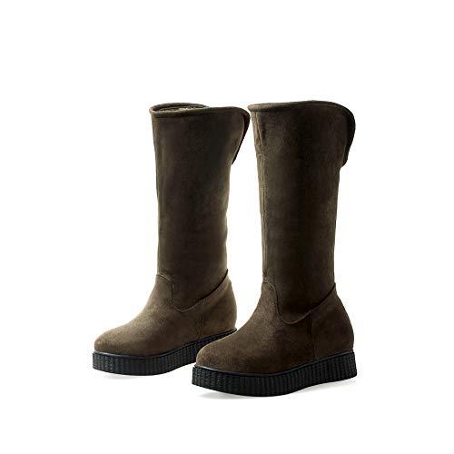 GAOQQ Frauen Flache Knie Schnee Pelz Gefüttert Stiefel, Durable Outdoor Thermal Warm Waterproof Schuhe,ArmyGreen-CN37 -
