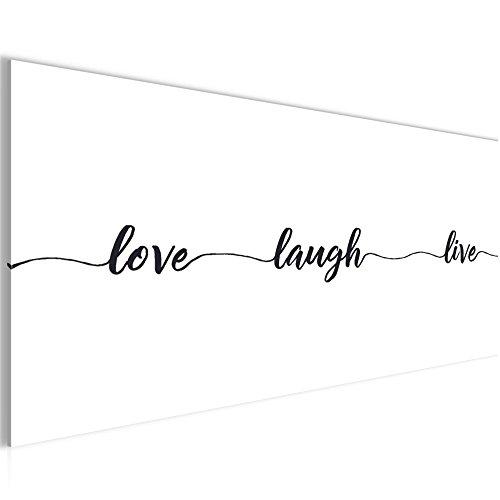 Bild 100 x 40 cm - Spruch Live Love Laugh Bilder- Vlies Leinwand - Deko für Wohnzimmer -Wandbild - XXL Teile - leichtes Aufhängen- 802612a