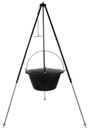 Gulaschkessel Gulaschtopf Set 30 Liter emailliert mit Deckel und Teleskop Dreibein 180 cm durch Kettenzug höhenverstellbar / Feuertopf – Suppentopf – Glühweintopf – Glühweinkessel – Eintopfkessel