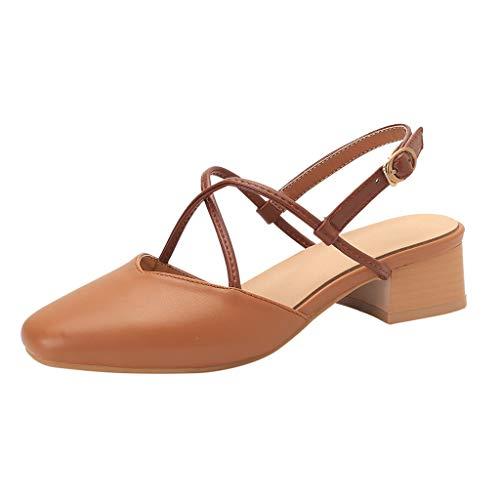 Sandalias para Mujer Verano 2019 Tacón Ancho Medio LuckyGirls Zapatos de Vestir Fiesta Cuña Cuadrado Elegantes Zuecos Casual Tallas Grandes