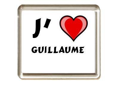Aimant de frigo avec une inscription: J'aime Guillaume (Noms/Prénoms)