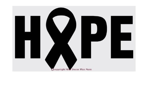 Black 36 W x 19 H 1-Pack Wall D/écor Plus More WDPM2193 HOPE with Cancer Awareness Ribbon Vinyl Wall Art Sticker Decal