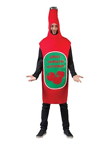 Kostüm Senf Ketchup - TrendClub100® Ketchupkostüm Ketchup Flasche Overall Kostüm Anzug (Ketchup)