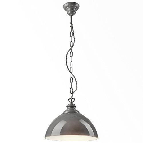 Glas-deckenleuchte Decken (Pendel-Leuchte Decken-Leuchte aus Glas E27 Hänge-Leuchte (Farbe: Grau) Vintage Industrieleuchte Wohnzimmerlampe Modern Wohnzimmer mit Kette Vintagelampe für Wohnzimmer / Küche / Büro / Praxis)