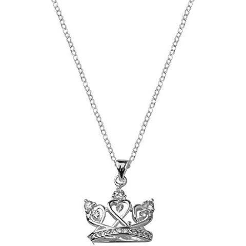 NYKKOLA–Argento Sterling 925placcato cuore di cristallo corona ciondolo collana principessa