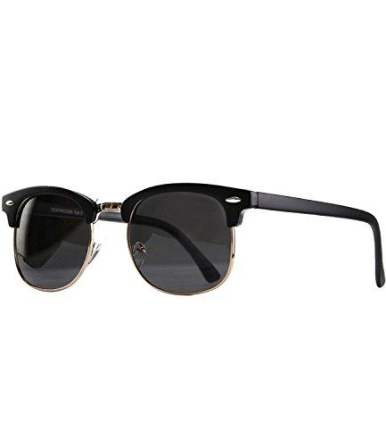 caripe Retro Sonnenbrille Clubmaster - clubma (Modell 4 - schwarz matt - smoke getönt)