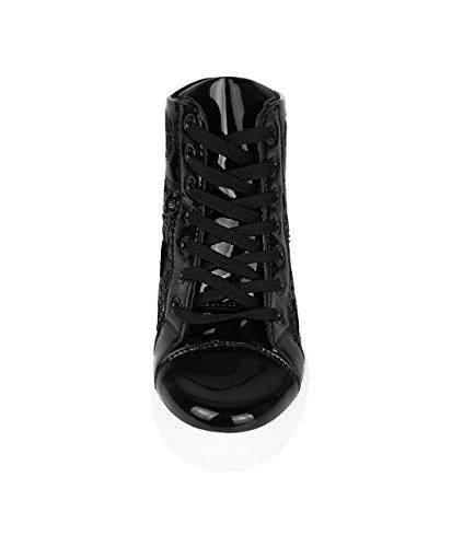 Krisp Ladies Glitter Top Sneaker Con Zeppa Con Zeppa Nero (4493)