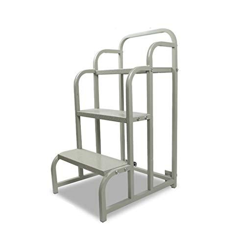 C-J-Xin Rollleiter, Zwei-Schritt-Bewegung Plattformleiter Lager Tally Dreistufenleiter Supermarkt Stehleitern/Roller Design Haushaltsleiter (Size : 50 * 60 * 100cm)