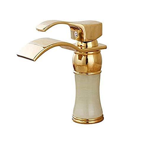 Wasserhahn Chrom Messing Retro-Stil Kupfer Marmortisch unter dem Becken Warmes und kaltes Gold Wasserhahn Wasserfall über dem Aufsatzbecken Vergoldeter Wasserhahn