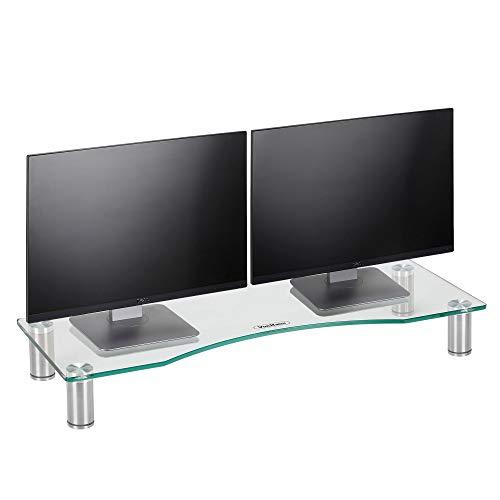 VonHaus Bildschirmständer Monitorständer für Monitore, Laptops & Fernsher - Höhenverstellbarer Schreibtischaufsatz - transparentes Glas, Füße aus Aluminium - 70 x 24cm Bildschirmerhöhung
